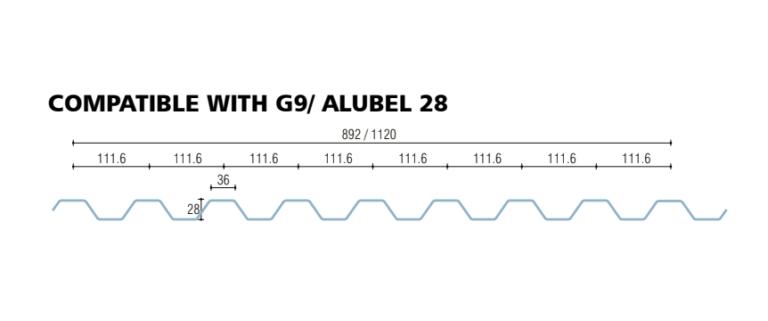 policarbonato grecato compatto compatibile alubel 28