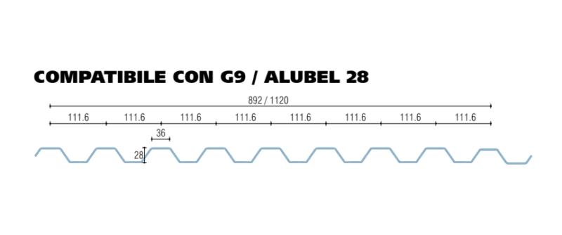 policarbonato microalveolare grecato compatibile con G9 - alubel 28