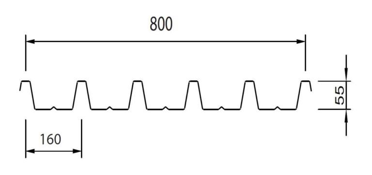 profilo lamiera grecata sand A55 P800